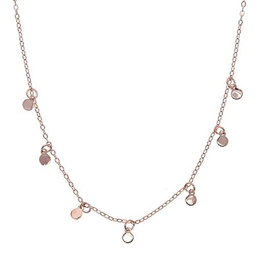 YHHZW Collar Collar Redondo con Dijes De Puntos De Goteo para Mujer, Niña, Delicado Y Elegante, Gargantilla De Boda, Joyería-Rose_Gold_Color