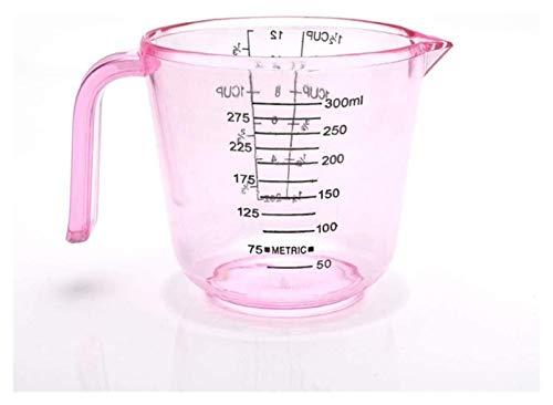 150/300 / 600ml Taza de medición de plástico, escala clara Muestra la taza transparente con sprout, dispositivo de medición - Conjunto de 2 Jsmhh (Color : Pink, Size : 300ml)