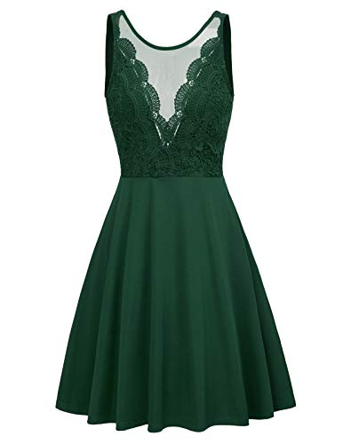 Women's Casual Sleeveless Patchwork Lace Party Dress A-Line Midid Dress S Green