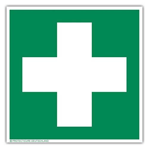 Hochwertiges Erste Hilfe/Verbandskasten Schild stark nachleuchtend 150mm x 150mm aus Kunststoff - Symbolschild Kennzeichnung - ORIGINAL Protecticure gemäß ASR A1.3 / ISO 7010 - Rettungszeichen