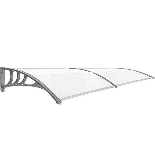 PrimeMatik - Tejadillo de protección 240x80cm Marquesina para Puertas y Ventanas Gris