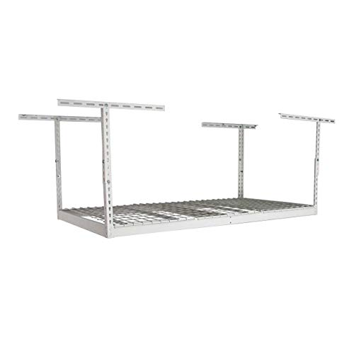 MonsterRax - 3x6 Overhead Garage Storage Rack - Height Adjustable Steel Overhead Storage Rack - 350 Pound Weight Capacity (White, 18