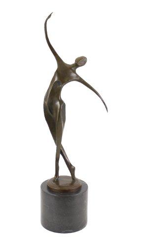 Kunst & Ambiente - Moderne Bronzefigur - Abstrakte Tänzerin auf schwarzem Marmor - signiert von Milo - Tänzer Skulptur