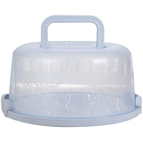 Cake Box,Round Cake Carrier,Cake Container with Handle Cupcake Carrier Light Blue Round Transporting Lid Clip Lock