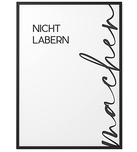 Papierschmiede® Typografie-Poster   Nicht labern, Machen! (elegant)   A3   Wanddeko Büro, Küche, Wohnzimmer   schwarz-weiß Bild mit Spruch ohne Rahmen