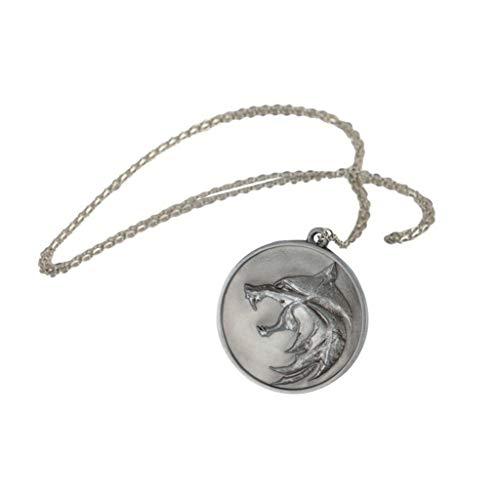 nihiug Collar Cabeza Brujo 3 periférica Lobo Cazador de Demonios Salvajes Caza Placa Witcher Colgante Medalla Bruja Bruja Colgante,Silver-OneSize