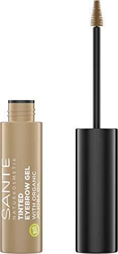 SANTE Naturkosmetik Tinted Eyebrow Gel 01 Blondie, Flüssiger Eyebrowmascara für helle Augenbrauenfarbe, Bringt Brauen in Form & füllt Lücken auf, Vegan, 3,5ml