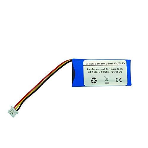 Batería de polímero de litio de repuesto para auriculares inalámbricos Logitech UE310, UE3500, UE4500, 533-000069 y AHB521630 (260 mAh, 3,7 V)