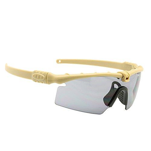 Polarized Armee Sonnenbrille militärischer Brille Men Rahmen 3/4 Linse Kampf Krieg Spiel eyeshields(bräunen, 3 Objektiv)