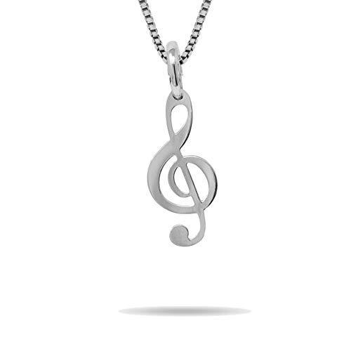 inSCINTILLE Simboli Preziosi Collana con Chiave di Violino in Argento Rodiato 925