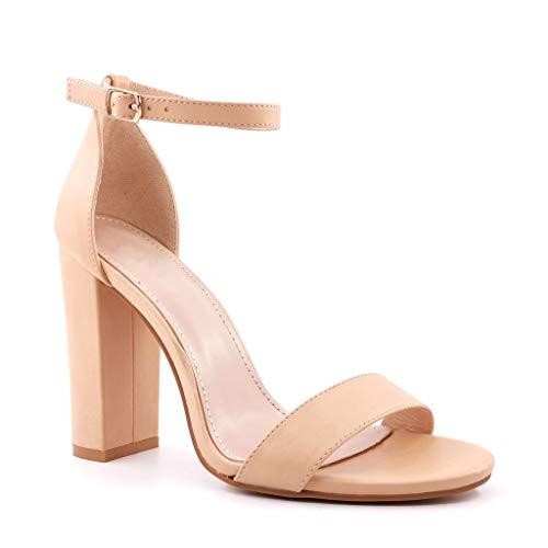 ANGKORLY - Scarpe Moda Decollete Sandali Elegante da Sera Elegante Donna Tanga Fibbia Pelle Liscia Tacco Blocco Alto 10 CM - Beige 4 FR382 T 39