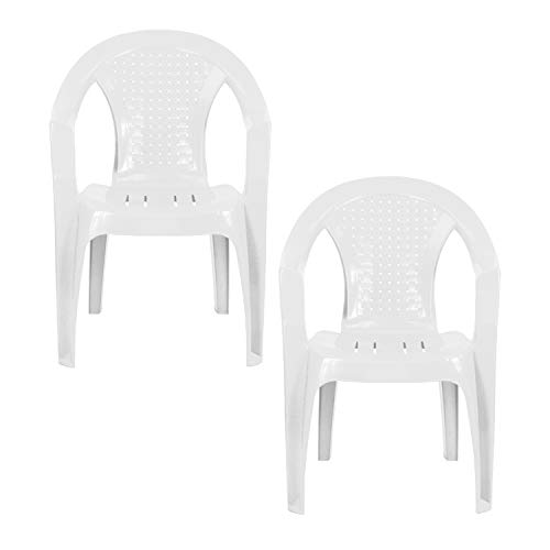 Plastic Garden Chairs - WHITE Set of 2 - Stackable with Woven Detail Low Back Design - Indoor or Outdoor Use - Suitable for Patio, Parties, Picnics or Camping.
