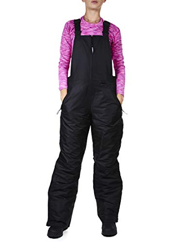 Arctic Quest Womens Insulated Water Resistant Ski Snow Bib Pants, Black, XL