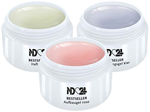 3 x 15ml - BESTSELLER - GEL SPAR-PACK SET - HaftGel + AufbauGel rosa + finish VersieglerGel - Made in Germany - säurearm selbstglättend