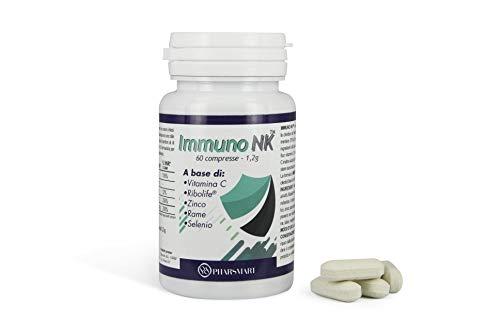 Immuno NK Integratore Alimentare Completo - Rafforza le Difese Immunitarie, Contrasta Stanchezza e Affaticamento - con Vitamina C, Rame, Zinco e Selenio – Per uomo e donna – 60 capsule da 1,2 g