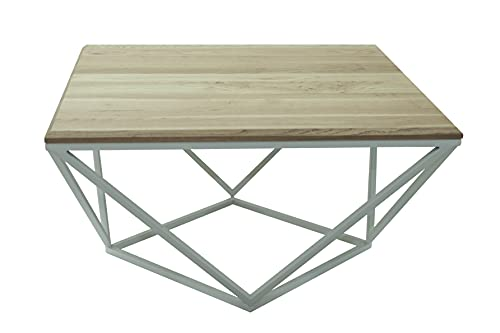 Lumarc Siena, Couchtisch aus Massivholz Natur Eiche im Industrial Minimalistisch Design, Quadratisch, 75x75x40 cm (Weiß)