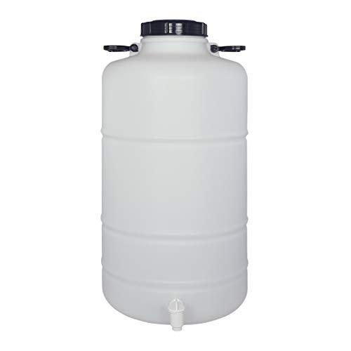 Bidón Garrafa Plástico Alimentario 50 litros con grifo y asas redondo. Boca ancha. Apto para agua consumo humano y todo tipo de líquidos.