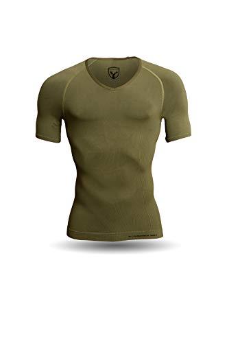 Deep V-Neck Compression Performance Shirt (XXL, Oliv)