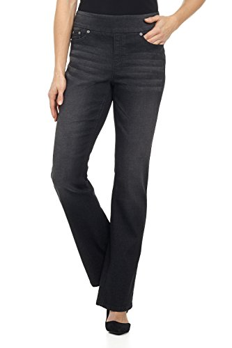 Rekucci Jeans Women's Ease in to Comfort Fit Pull-On Stretch Bootcut Denim Pants (2SHORT,DK WASH Sand)