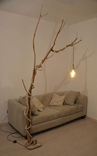 Lámpara de pie rústica en madera diseño retro,lámpara de piso vintage natural con roble envejecido reciclado, cuerda marina y bombilla led