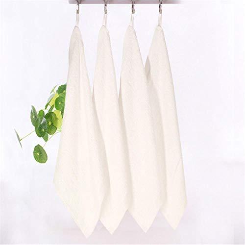XCVB Carré Serviettes Couleur Unie Fibre de Bambou Doux Visage Serviette Coton Cheveux Main Salle De Bains Serviettes 25 * 25 cm, Blanc