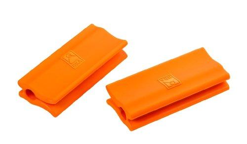 BRA Braisogona_A284008 Efficient - Asas de Silicona, 2 Unidades, Medida Plancha asador Liso, para Efficient con diámetro de 35-45 cm, Color Naranja