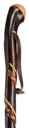 XL Gehstock ZIEGENHAINER Wurzelknauf, Wanderstock aus europäischem Kastanienholz mit handpolierter Wurzel, doppelt gedrehte Schmuckfräsung, inklusiv vernickelter Bergstockspitze als Abschluss.