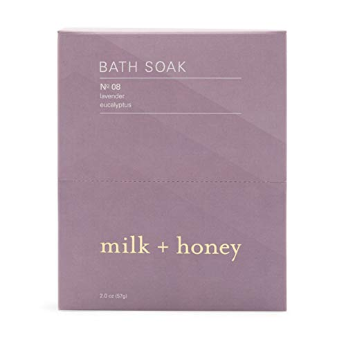 milk + honey Calming Bath Soak No. 8, Lavender Eucalyptus, 6 Packets