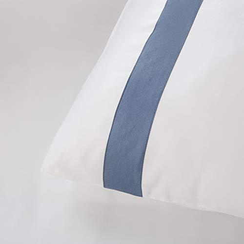 Funda Nordica Covi 100% Algodon Extrasuave Satén 300 Hilos con Cenefa Incrustada posicionada. Cierre con Botones. (Blanco/Azul, Cama 150/160 (240x240))