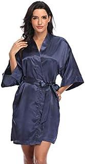 Kotii Women Silk Satin Short Bathrobes V-neck Pure Color Sleepwear Wedding Bridesmaid Bride Party Robe S-2XL