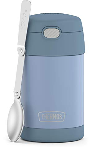 THERMOS FUNTAINER 16 Ounce Stainless Steel Vacuum Insulated Food Jar with Folding Spoon, Denim Blue