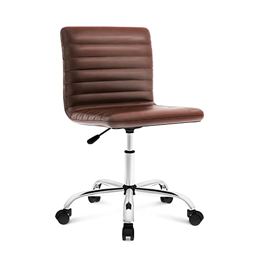 Office Chair Ergonomic Computer Desk Chair Swivel Rolling Task Chair with Armless Mid Back for Home Office Conference Study Vanity Room, Brown