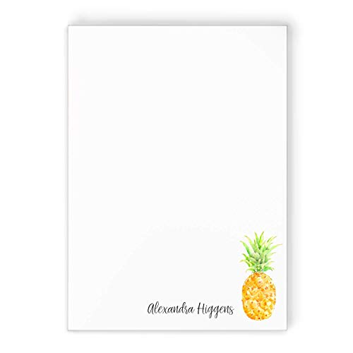 PAINTED PINEAPPLE NOTEPAD - Personalized Custom Printed Cute Watercolor Fruit Stationery/Preppy Stationary Note Pad To Do List Jotter