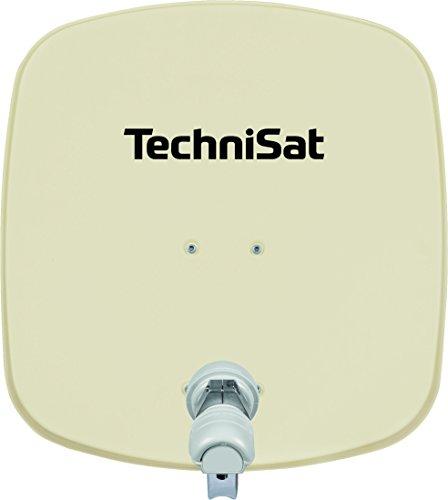 TechniSat DIGIDISH 45 - Satelliten-Schüssel für 1 Teilnehmer (45 cm kleine Sat Anlage - Komplettset mit Wandhalterung und Universal V/H Single-LNB) beige