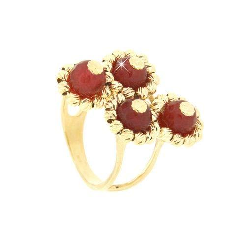Gabriela Rigamonti Jewels-Anello in Oro giallo 18kt con gemme naturali di quarzo rubino naturale