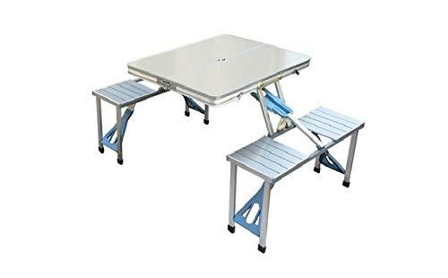 ZFLL Picnic klaptafel en stoelen Buiten Draagbare Aluminium Tafel en Stoel Set Outdoor Picnic Barbecue Zelf rijden tour Tentoonstelling Publiciteit tafel Kleur: wit