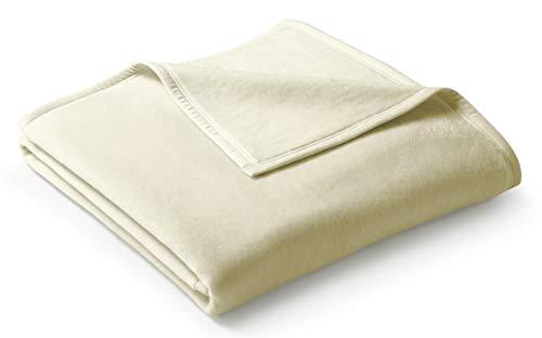 biederlack® flauschig-weiche Kuschel-Decke I Made in Germany I Öko-Tex Made in Green I nachhaltig produziert I Wohn-Decke Cotton Uni - Natur aus Baumwolle I Sofa-Decke in 150x200 cm