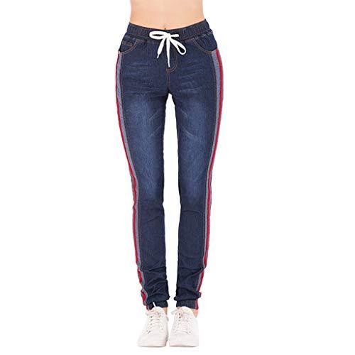 Vectry Jeans Damen Slim Fit Skinny Fit Jeans Jogger Push Up Ankle Straight Leg Mit LöChern Stretch Denim Relaxed Hose Aufnäher Hosen, Streifen Elastisch Stretch Cropped Jeanshosen(Schwarz,XL)