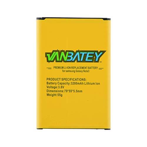 Vanbatey Batería para Samsung Galaxy Note 3 EB-B800BE 3200 mAh de repuesto interna de iones de litio compatible con N9000 N9005 N900A N900 N900 N900V N900P N900P N900P