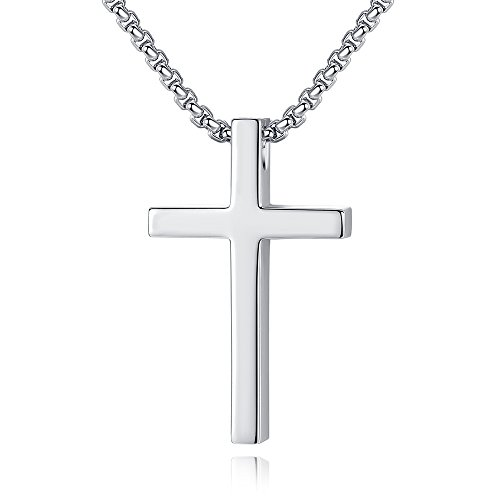 Reve Simple Stainless Steel Silver Tone Cross Pendant Chain Necklace for Men Women, 20-22 Inches (Women:1.20.7'' Pendant+20'' Rolo Chain)