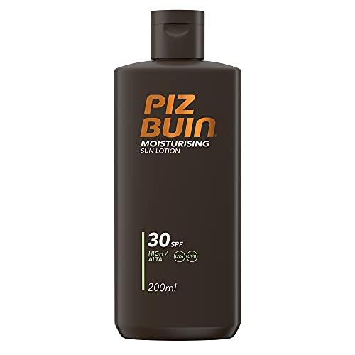 Piz Buin Moisturising Sonnencreme mit LSF 30, schnell einziehender Sonnenschutz, nicht fettend, 200ml