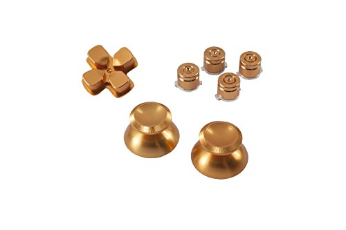 GAMINGER Patronen Button Analogsticks D-Pad Steuerkreuz aus Aluminium für Sony PlayStation 4 Dualshock 4 Controller Set Bundle Munition Bullets Tasten Kappen Zubehör Patrone Mod Custom PS4 Thumbsticks Analog Sticks Knöpfe Tuning - GOLD