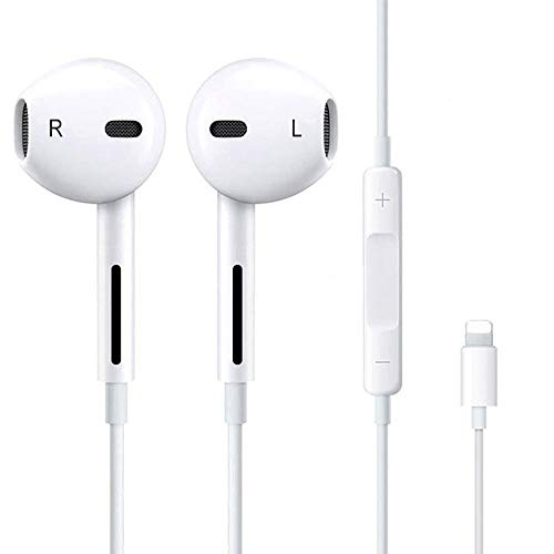 Relimi Auriculares, In-Ear con Micrófono Auriculares con Control Remoto Auriculares estéreo y Auriculares con Aislamiento de Ruido Compatible con iPhone 12/11/X/XR/8/8 Plus/7/7 Plus - Blanco