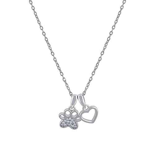 Collar de plata de ley 925 con circonita cúbica para mujer, con diseño de corazón y perro, gato, con estampado de huellas de perro, para mujer