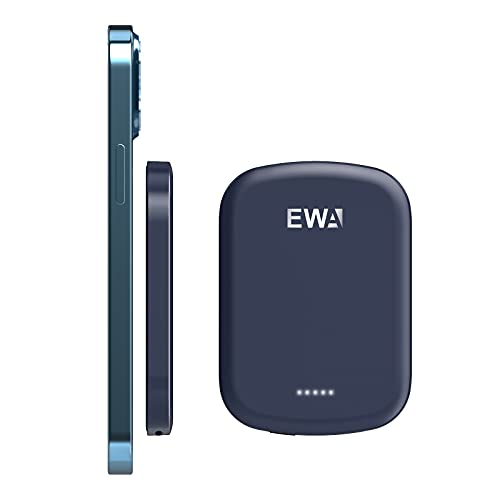 EWA Magnetic Wireless Power Bank, Mini Portable Charger Fast Wireless Charging and USB-C Quick Charge, 4,200mAh External Battery Pack Compatible with iphone13/iPhone12/ Mini/Pro/Pro Max (Rubber Blue)