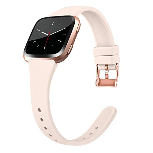 Tobfit Silicone Slim Band Compatible for Fitbit Versa/Lite/SE, Narrow & Thin Sport Wristband with Metal Buckle for Women/Men, Pink Sand, Small