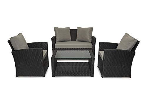 EVRE Rattan Garden Outdoor Furniture Patio Roma Sofa Set (Black)