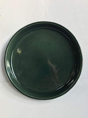 K&K Keramik K & K sous coque/soucoupe ronde pour pot de fleurs venus II avec et sans anses – Ø 16 cm Vert 19 x 15 cm en grès (Céramique Haute Qualité)