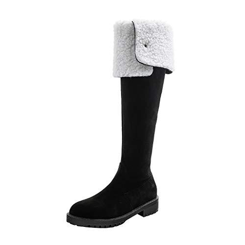 Botas de nieve altas hasta la rodilla, de lana de cordero mate con cierre de cremallera y terciopelo de tubo alto, botas de adelgazamiento, para mujer, botas de equitación de otoño, color negro, 7