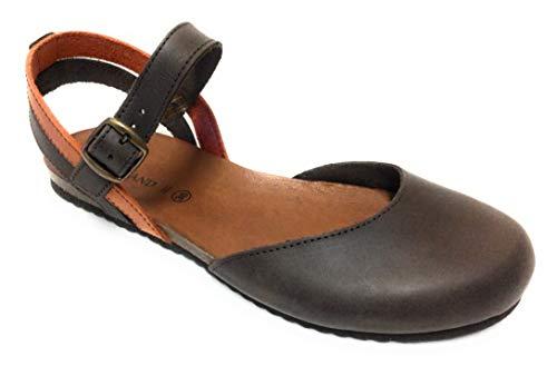 Grunland SB0715 Sandalo Donna Chiuso in Punta. Chiusura con Fibbia alla Caviglia (T.Moro/Arancio, Numeric_36)